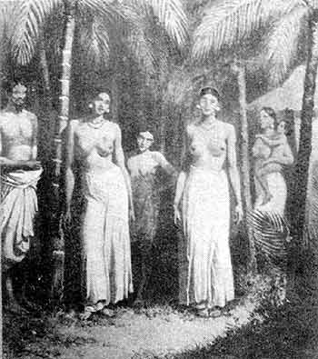 Traditional topless dress in 19th century Sri Lanka